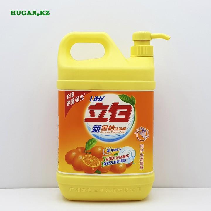 Средство для мытья посуды Liby Kumquat Dishwashing с дозатором Лимон